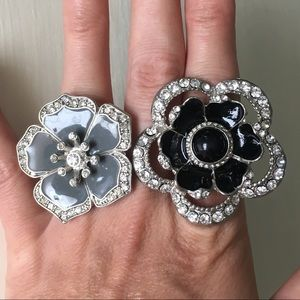 Jewelry - 🌸Floral Stretch Rings Bundle- Sparkly Rhinestones